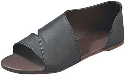 Women Peep Toe Side Cutout Flat Sandals Faux Leather Slip On