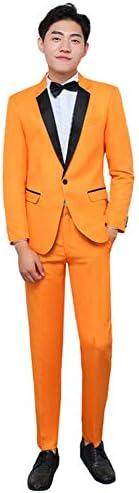 スーツ メンス ビジネススーツ 上下セット セットアップ ジャケット パンツ イエロー スリム 演出服 ステージ衣装 メンズ 舞台 ビジネス カジュアル 着心地抜群 パーティー 演奏会 フォーマル 結婚式 就職スーツ 司会者 (イエロー, M)