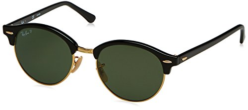 Ray-Ban Clubround Polarized Round Sunglasses, Black, 51 - Ray Glasses Wood Ban