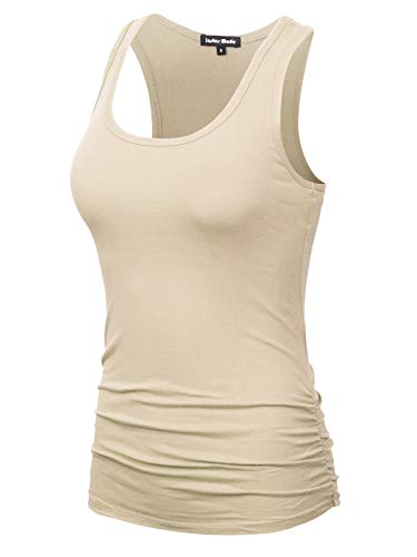Design by Olivia Women's Casual Basic Sleeveless Racerback Tank Top Oatmeal 2XL