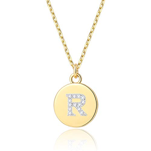 BOUTIQUELOVIN 14k Gold Plated Round Pendant R Initial Necklace Fashion Letter Jewelry for Women Girls