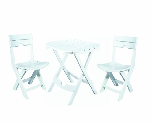 Adams Manufacturing 8590-48-3731 Quik-Fold Cafe Bistro Set, White (Chairs Cheap Bistro Table And)
