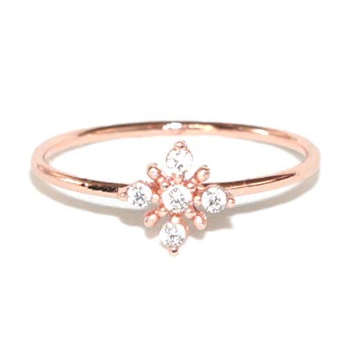 Excelsia Hope Rose/White Gold-Plated CZ Dainty Flower Ring