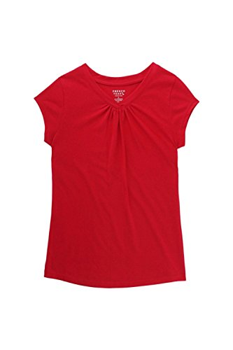 French Toast Big Girls' Short Sleeve V-Neck Tee Shirt, Red, M (Red Girls Top)