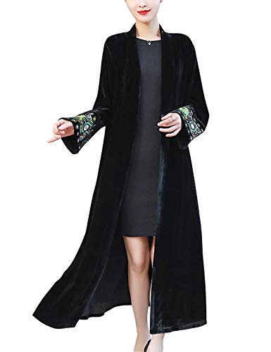 Omoone Women's Vintage Velvet Long Embroidered Cardigan Trench Coat(0768-Black-XL) ()