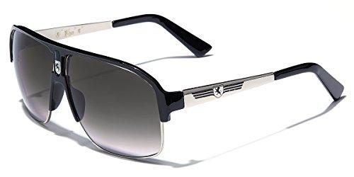 KHAN Men's Sport Sunglasses Fashion Aviators Retro Classic Shades,Silver - Black,one size fits most ()