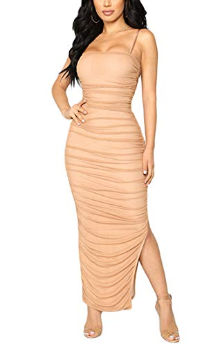 Ruched Thin Strap Dress - Joyfunear Women's Sexy Kylie Ruched Spaghetti Strap Backless Slit Maxi Long Dress with Zippers Peach Pink X-Large