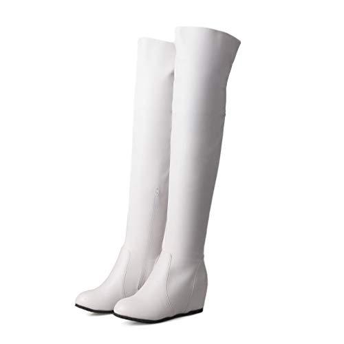 (JOYBI Women Round Toe Over The Knee Boots Waterproof Zip Height Increasing PU Leather Thigh High)