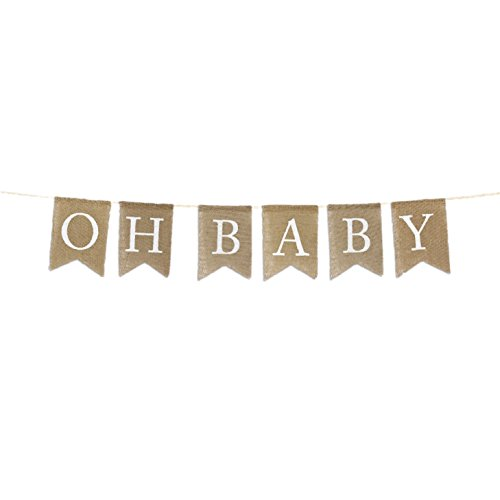 Baby Banner - Andaz Press Real Burlap Fabric Pennant Hanging Banner Oh Baby, Pre-Strung, No Assembly Required, 1-Set