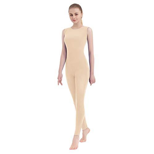Unisex Scoop Neck Footed/Footless Long Sleeve/Sleeveless Lycra Spandex Unitard (X-Large, Nude (Tank Top))