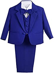 Dressy Daisy Baby Boy' 5 Pcs Set Formal Tuxedo Suits No Tail Christening Out