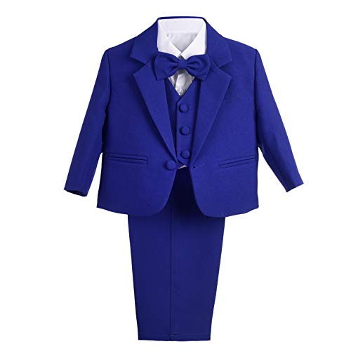 Dressy Daisy Baby Boy' 5 Pcs Set Formal Tuxedo Suits No Tail Wedding Outfits Size 3-4T Royal -