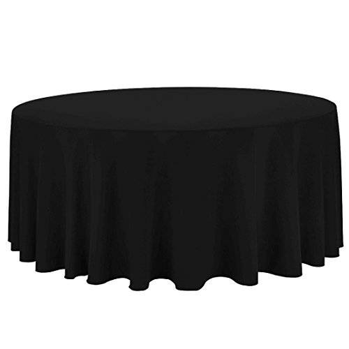 LinenTablecloth 132-Inch Round Polyester Tablecloth Black