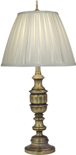 (Stiffel TL-AC9595-AC9893-AB One Light Table Lamp, Antique Brass Finish with Oyster Silksheen Shade)
