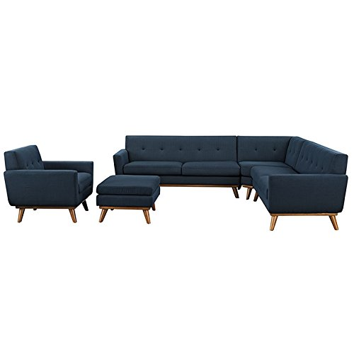 Modway Engage Mid-Century Modern Upholstered Fabric 5-Piece