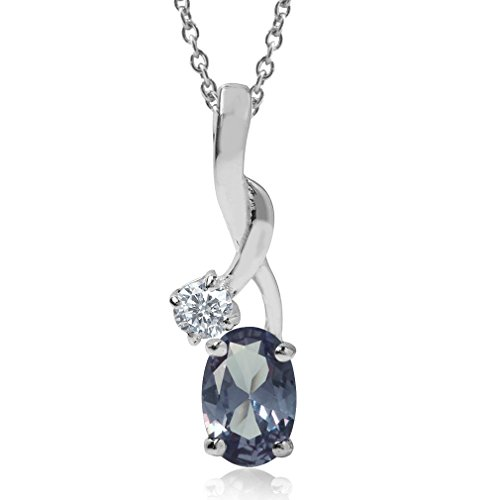 Simulated Color Change Alexandrite 925 Sterling Silver Classic Pendant w/ 18 Inch Chain Necklace
