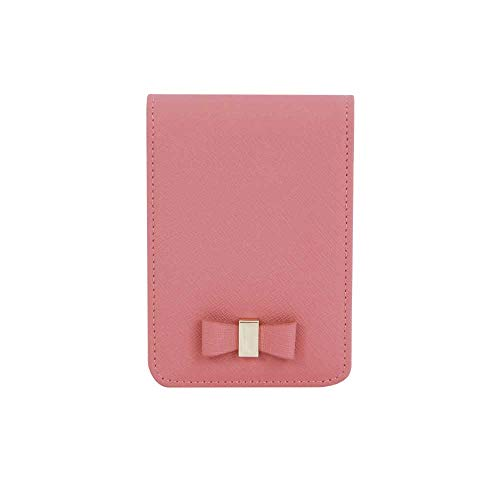 (Genuine Leather Cigarette & Lighter Case Cosmetic Pouch with Mirror Indi Pink)