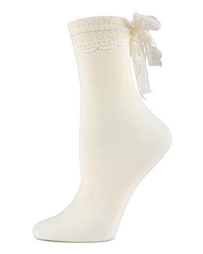 Turn and Twirl Chiffon Bow Ankle Socks,Mwf-000080 Ivory,One - Ankle Nylon Length Bow Socks