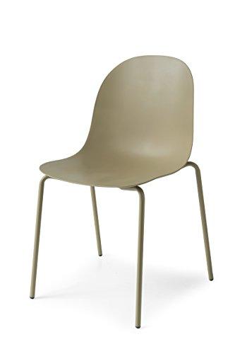 Connubia Academy Chair with 4 Leg Tubular Base, Metal Stained Matt Nougat Frame & Polypropylene Matt Nougat Seat