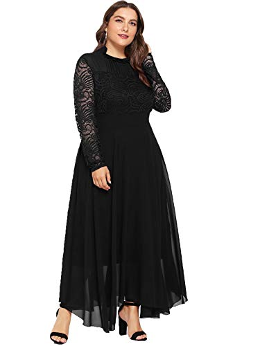 age Floral Lace Long Sleeve Ruched Neck Flowy Long Dress Black-Plus Size 2XL ()
