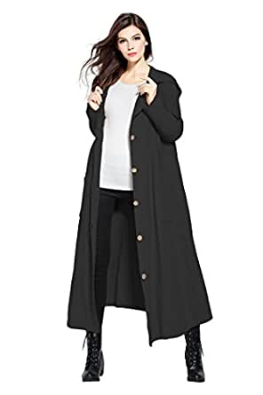 Anysize Spring Winter Hooded Thick Linen Coat Extra Long