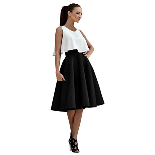 Round Pleated Skirt (Miniskirts Pikolai Women Round Neck Sleeveless Top Stretch High Waist Flared Pleated Swing Roman Cloth Skirt Set (XL, Black))