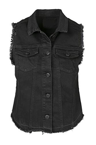 (SHOP DORDOR BW-073 Women's Sleeveless Frayed Armhole Washed Jean Denim Vest Jacket Black 2XL)