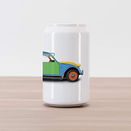 Lunarable 1960s Cola Can Shape Piggy Bank, Retro Car Mini Small Fun Europe  Chromium Old Fashion Transport Good Old Days Art, Ceramic Cola Shaped Coin  ...