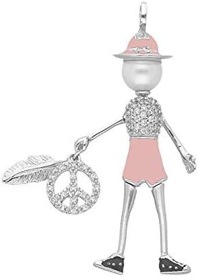 Giorgio Martello Milano Anhänger Püppchen Bella Giulia Festival Rosa, Onesize 925 Sterling Silber