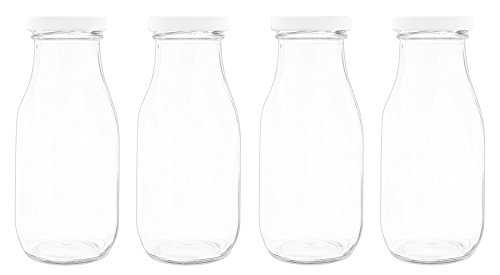 Set of 4 Fashion Craft Decorative Glass Jar with Screw Top Lid- 6