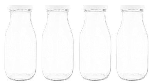 Set of 4 Fashion Craft Decorative Glass Jar with Screw Top Lid- 6
