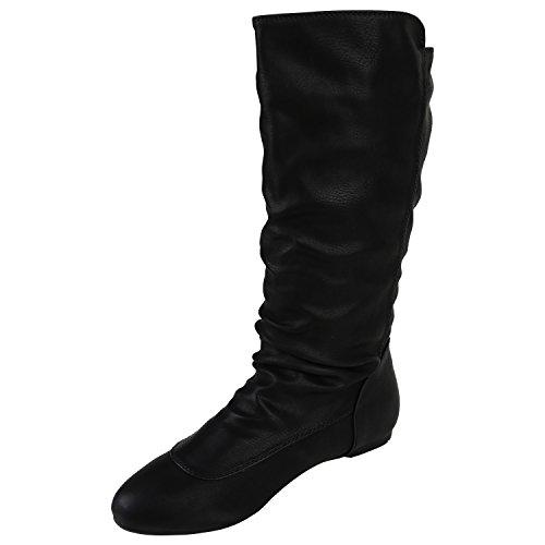Stiefelparadies Bequeme Flache Damen Stiefel Hochschaft Stiefeletten Schuhe Flandell Schwarz Amares Nieten