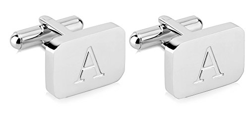 18k Gold Plated Cuff - White-Gold Plated Monogram Initial Engraved Stainless Steel Man's Cufflinks With Gift Box -Personalized Alphabet Letter's By Lux & Pier (A- White Gold)