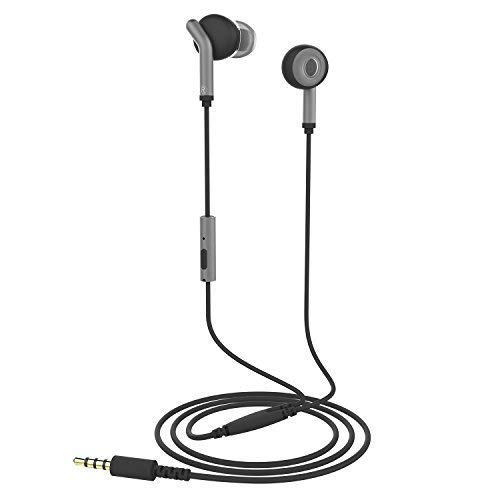 MUCRO in-Ear Stereo Earphones, Wired Earphones Earbuds with Remote and Mic 3.5mm Jack Plug Cell Phone Headset,Gray