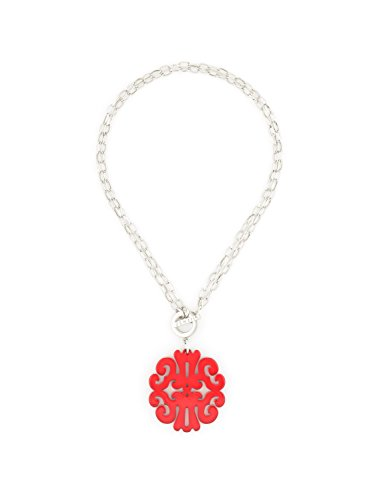 ZENZII Statement Scroll Pendant Necklace (Silver Red)