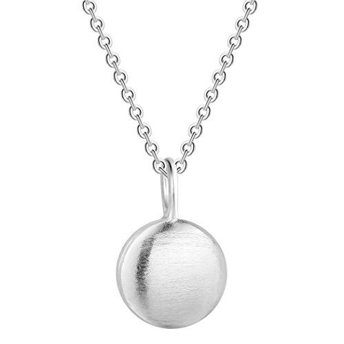 925 Sterling Silver Geometric Jewelry Women Necklace Solid Circle Round Bead Dangle Pendant Birthstone Necklace