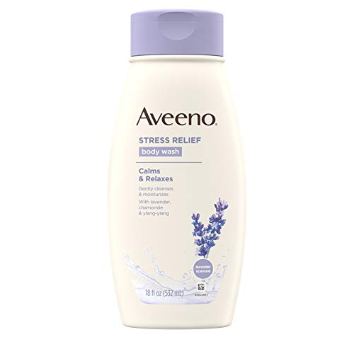 Aveeno Stress Relief Body Wash Calms & Relaxes with Lavender, chamomile & ylang ylang Lavender Scented 18 fl. Oz