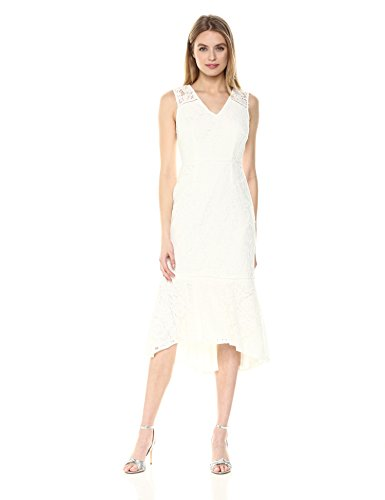Adrianna Papell Women's Cynthia Lace Flounce Sheath Dress, Ivory, - Dress Lace Flounce
