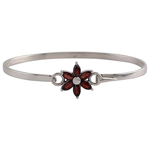 NOVICA Garnet .925 Sterling Silver Pendant Bracelet, 7