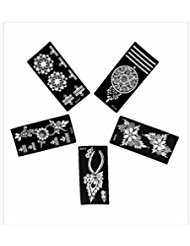 5pc Blossom BODY, Legs, Arms, Back, Shoulders, Chest, Indian Arabian Tattoo Reusable Stencils Stickers To Draw Around by LAMINAU