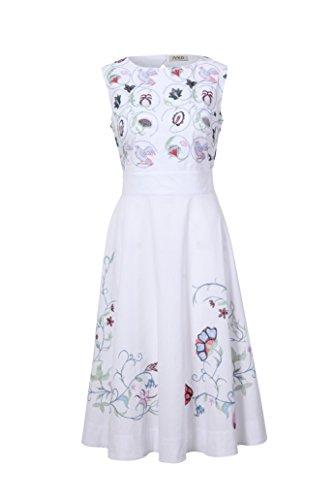 Stickerei mit Bezauberndes Weiß Kleid IVKO viel xwqUTg0nB