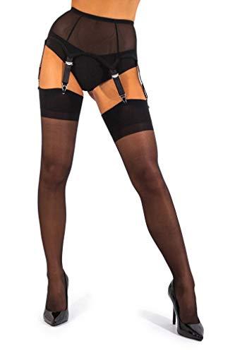 sofsy Sheer Thigh High Stockings for Women's Garter Belt/Suspender Belt | 15 Den [Made in Italy] (Garter Belt Not Included) - Black - -