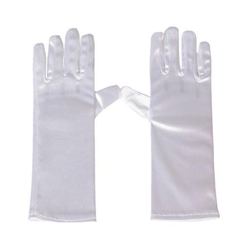 Greenmoe Girls Short Length Gloves For Kids Dance Party White