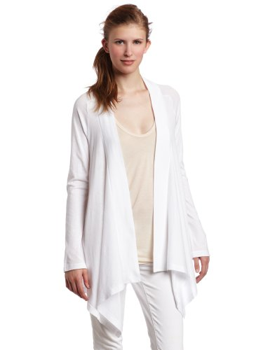(Splendid Women's Very Light Jersey Drape Cardigan, White, Large)