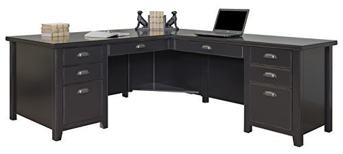 Martin Furniture Tribeca Loft L-Shaped Computer Desk, Black (Furniture Office Painted)