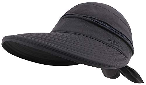 Simplicity Women's UPF 50+ UV Sun Protective Convertible Beach Hat Visor Black ()