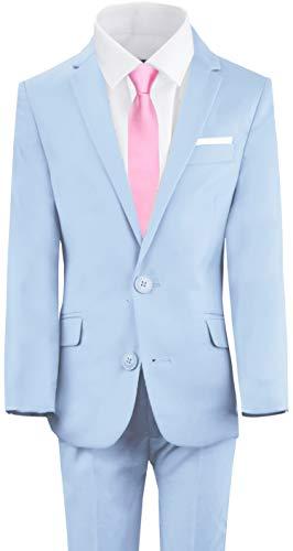 Black n Bianco Boys First Class Slim Fit Suit Five Piece Set with Shirt & Tie (12, Light - Munchkin Miniatures
