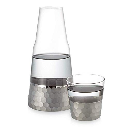 Fitz and Floyd Daphne Platinum Bedside Water Carafe With Tumbler - Glass Pitcher and Matching Drinking Glass Doubles As Lid Adds A Touch of Hospitality to Guest Rooms or Office - Makes An Ideal Gift (Bedside Glass And Pitcher)