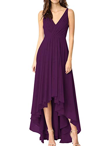 Bridesmaid Bess High Backless Chiffon Dress Neck V Low Bridal Grape Prom Women's Rq4rRTSz