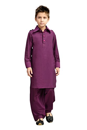 (K&U Boys' Purple Pathani Kurta Salwar Set (11-12 Years))